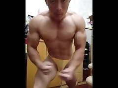 Asian bodybuilder flex boner 02