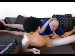 Older Man Blowing Mixed College Student