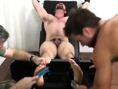 Horny twink gets pounded in a gay gangbang and messy facials