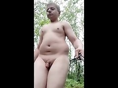 Public naked out on trail no clothes near by cums