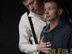 'BoyForSale - Masked daddy fucks young slave boy with glass dildo'